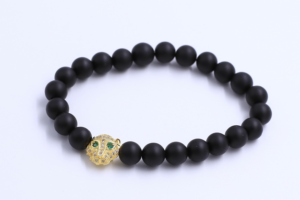 Matt Black Onyx Bead Stopper Fox Head Design Chamrs Bead Stone Bracelet for Men Jewelry ...