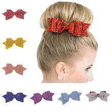 Fashion Woman Girl Sequin Bow Hairpin Baby Hair Accessories Headdress Gift Glitter sequin bow hair clip hair ties for girls(China)