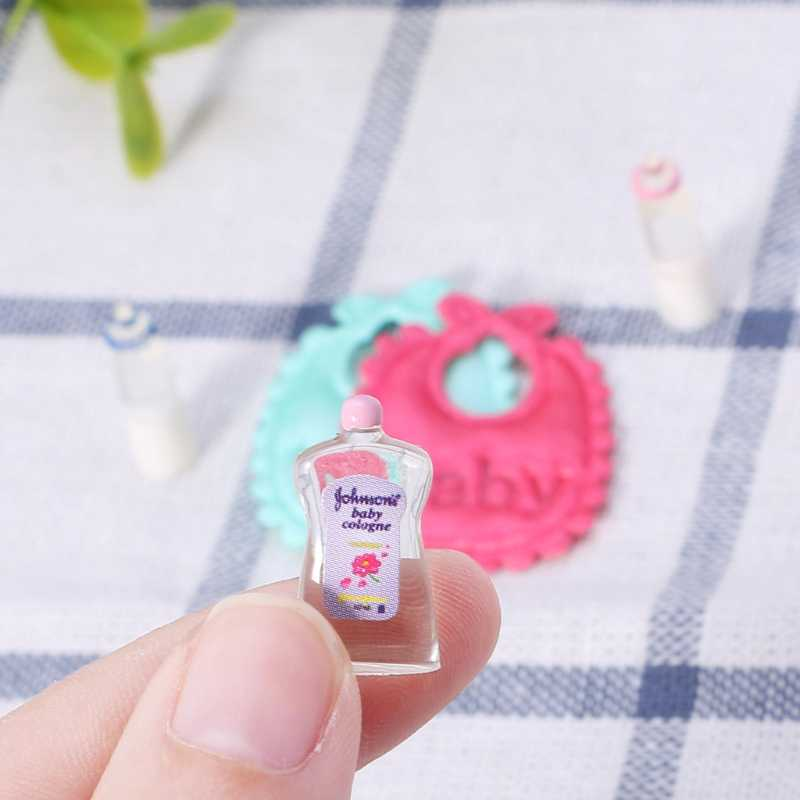 Drop ShiP New 1:12 Baby Bottles Shampoo Bib Set Doll House Miniature Nursery Accessory