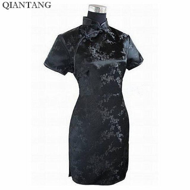 Женское атласное платье-Ципао, черное традиционное китайское платье, мини-Ципао с цветочным принтом, размеры S, M L XL XXL XXXL 4XL 5XL 6XL, J4039