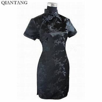Qipao-Vestido corto de satén para Mujer, Vestido negro Vestido tradicional chino, con estampado de flores, S M L XL XXL XXXL 4XL 5XL 6XL, J4039