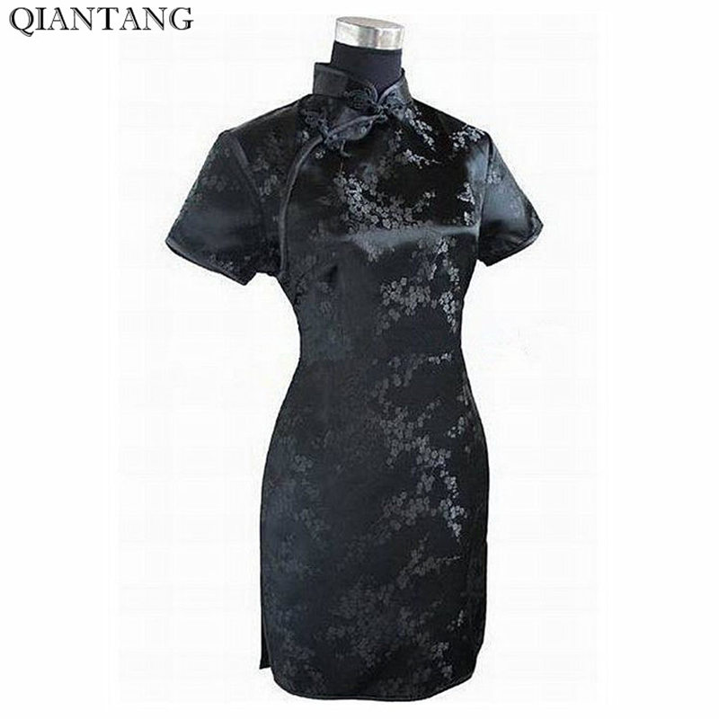 Black Traditional Chinese Dress Mujer Vestido Women's Satin Qipao Mini Cheongsam Flower Size S M L XL XXL XXXL 4XL 5XL 6XL J4039 new style black casual loose men s pant chinese male cotton linen kung fu trousers plus size s m l xl xxl xxxl
