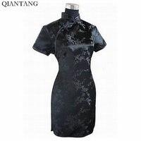 Black Traditional Chinese Dress Mujer Vestido Women S Satin Qipao Mini Cheongsam Flower Size S M