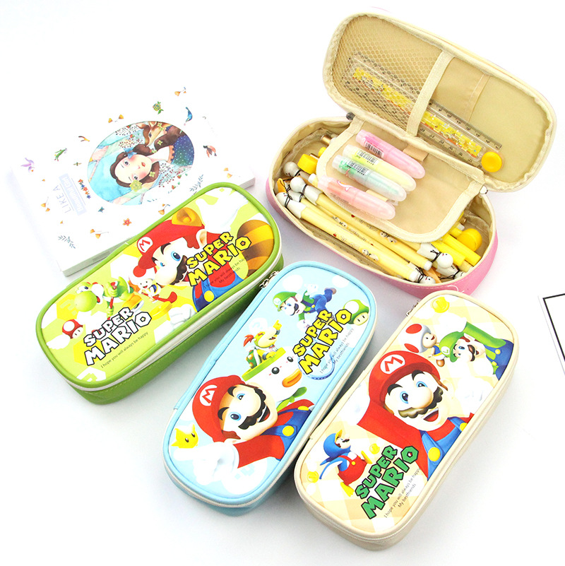 Cartoon Mario Pencil Case Cute Big capacity PU Leather pen bag Stationery pouch Pencil bag box school supplies gift Zakka kawaii cartoon girls school pencil case with lock cute pu leather large capacity pencil bag gift bts pen box stationery supplies