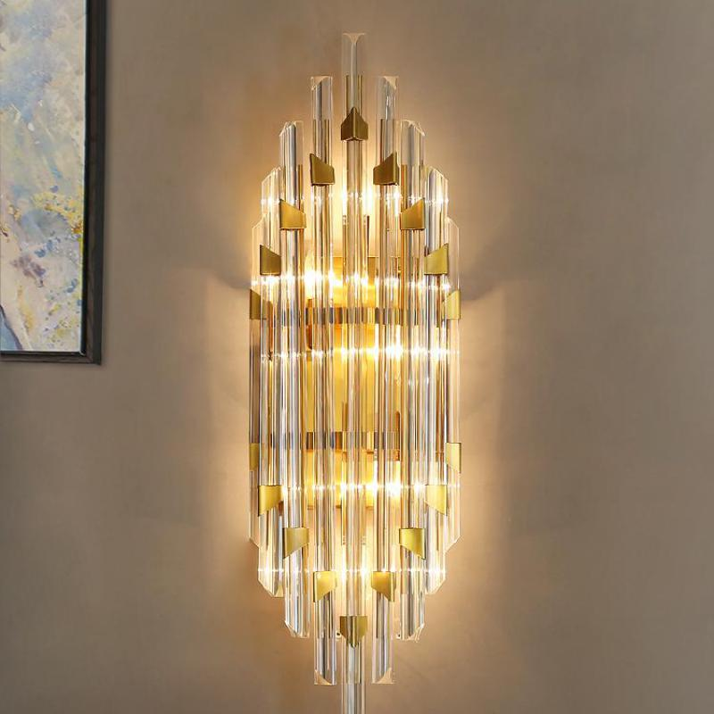 Hotel Lobby Long Crystal Bar Wall Lamp Villa Hall Wall Fixtures Huge Living Room Wall Sconces E14 Led Crystal Bar Mirror Light Led Indoor Wall Lamps Aliexpress