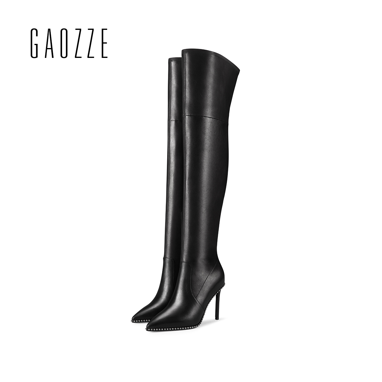 GAOZZE women leather boots 2017 autumn winter new pointed sexy high-heeled sheepskin boots women over knee boots high boots gaozze autumn ankle boots for women 2017 new sexy thin high heeled boots women side zipper fashion pointed toe shoes red boots