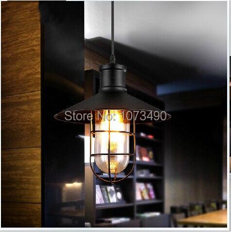 LOFT Vintage chandeliers lamp Wrought iron cage pendant warehouse light fixture with edison bulb