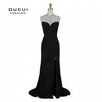 Реальные фотографии элегантность Дизайн длинное вечернее платье с высоким Разделение Высокая шея платье выпускного вечера вечерние OL102743