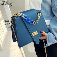Luxury 2019 New Fashion High Quality Pu Leather Women Messenger Bag Chain Solid Color Female Party Shoulder Bag Ladies Hand Bags