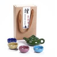 Tragbare Kung Fu Tee-Set 1Pot 4 tassen  Keramik Tee-Sets  Teetasse  ChineseTravel Tee-Set  drink Kaffee & Tee-Sets Großhandel