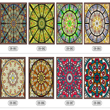 Custom No glue electrostatic scrubs translucent church stained glass windows and doors wardrobe furniture foil stickers