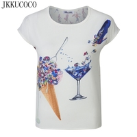 JKKUCOCO модная жемчужина для женщин шифоновая блузка спереди мороженое вина сзади Мода леди печати o образным вырезом Женская шифоновая рубаш