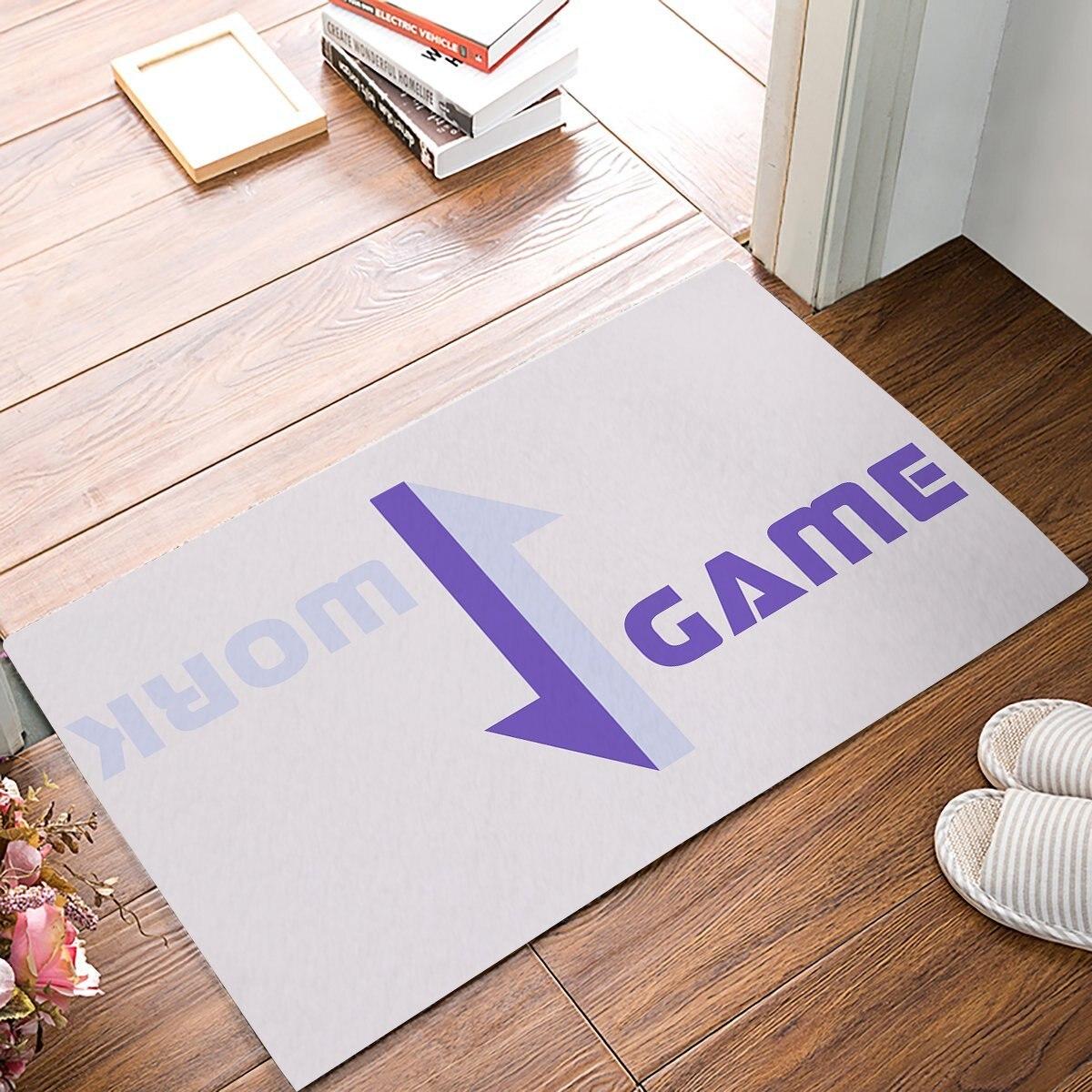 Purple Work And Game Next To Opposite Arrow Door Mats Kitchen Floor Bath Entrance Rug Mat Absorbent Indoor Bathroom