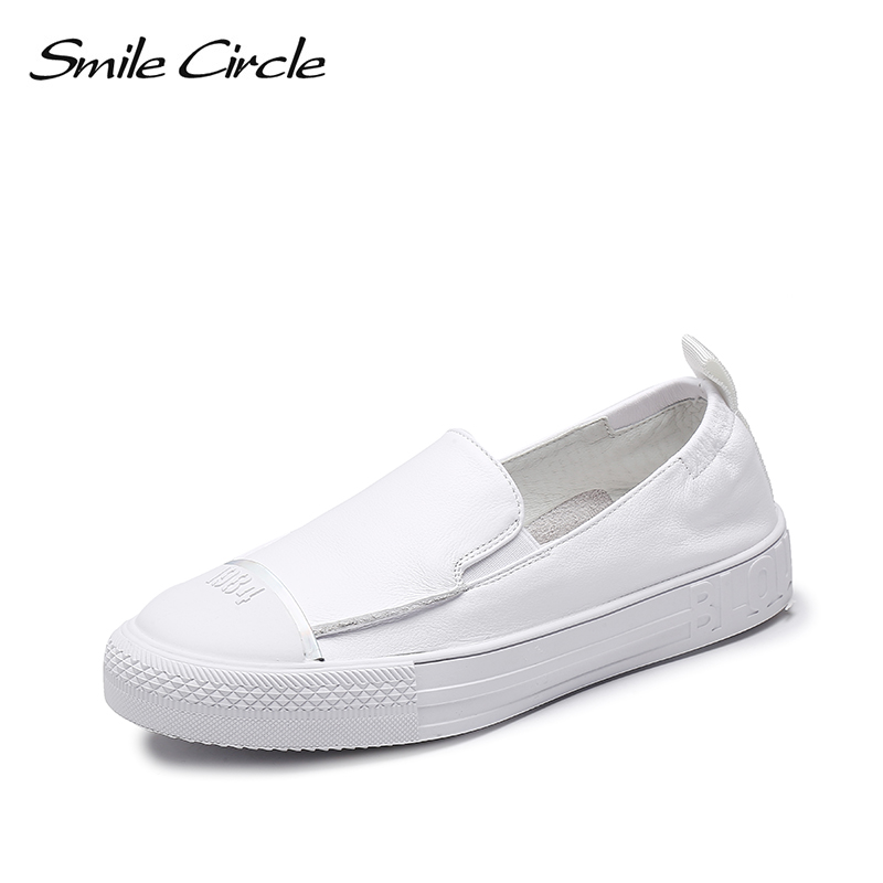 Smile Circle Genuine Leather White Sneakers Women Flat Slip On Casual shoes 2019 Spring New fashion