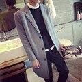 Otoño Nueva Moda para hombre de mediana larga Foso de la solapa del Hombre outwear Masculina slim fit chaqueta Casual abrigo Largo británico de Un Solo Pecho Tamaño 3XL