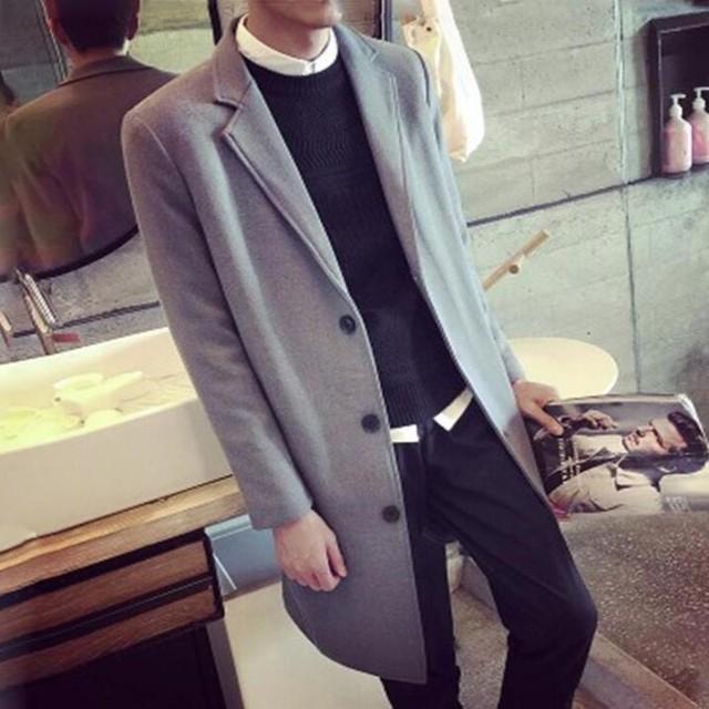 Outono Nova Moda dos homens de médio longo lapela Trincheira Homem outwear Masculino slim fit jaqueta Casual Longo casaco Breasted Único britânico Tamanho 3XL