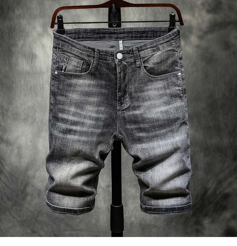 Summer Shorts Men Jeans Grey Stretch Slim Fit Leisure Joggers Pants Man Short Thin Classic Trendy