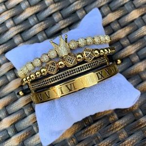Bangle Men Bracelet crown charms Macrame
