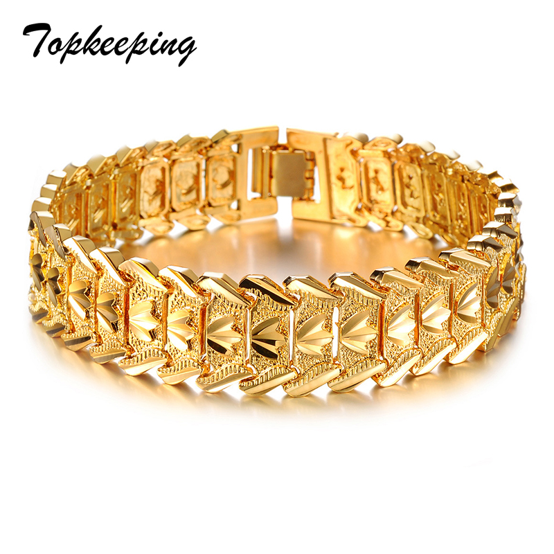 Topkeeping Brand Fashion Men Bracelet Gold Color Bracelet Bangle Male Accessory Hip Hop Party Rock Jewelry