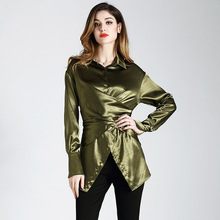Women silk blouse shirt Long sections green color irregularity womens tops  and blouses stand collar slim feminine blouse 8246b4a04499