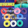 Free shipping Bulk 1pin 5 metres super flexible 22AWG PVC insulated  Wire Electric cable, LED cable, DIY Connect 13 color choose