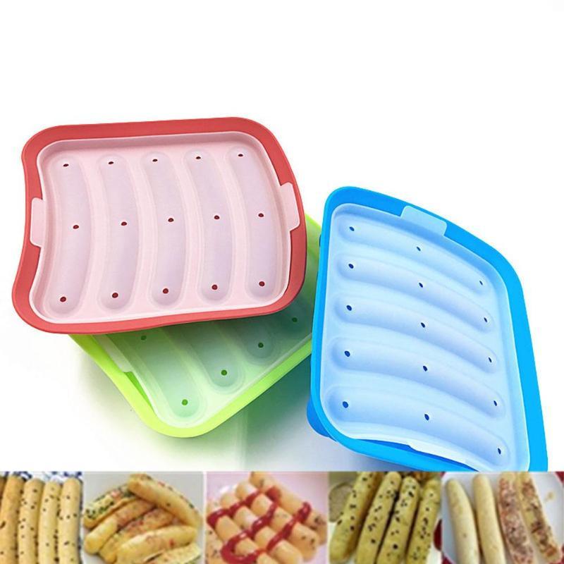 硅胶火腿热狗汉堡制作模具DIY香肠制作模具婴儿食品补充烘焙工具厨房道具5格床制作工具