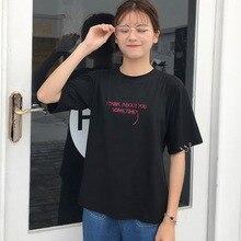 Women 2019 Fashion Letter Embroidery Short Sleeve T-Shirt Sleeve Hem Metal Rings T Shirt Round Neck Tops Women camiseta mujer