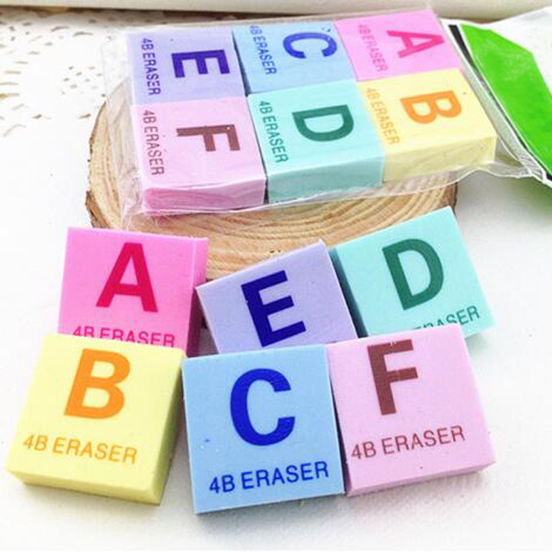 20pcs/lot Cartoon Puzzle English Letter Eraser For Kid's Birthday Christmas Gift Rubber Cute Stationery Material Escolar