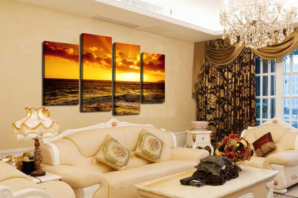sin marco panel hermosa puesta de sol mar ola grande hd imagen impresin de la