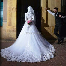 Robe De Mariage Musulman 2017 Long Sleeve Muslim Hijab Wedding Dress Lace Appliques Back Lace Up Court Train Bridal Wedding Gown