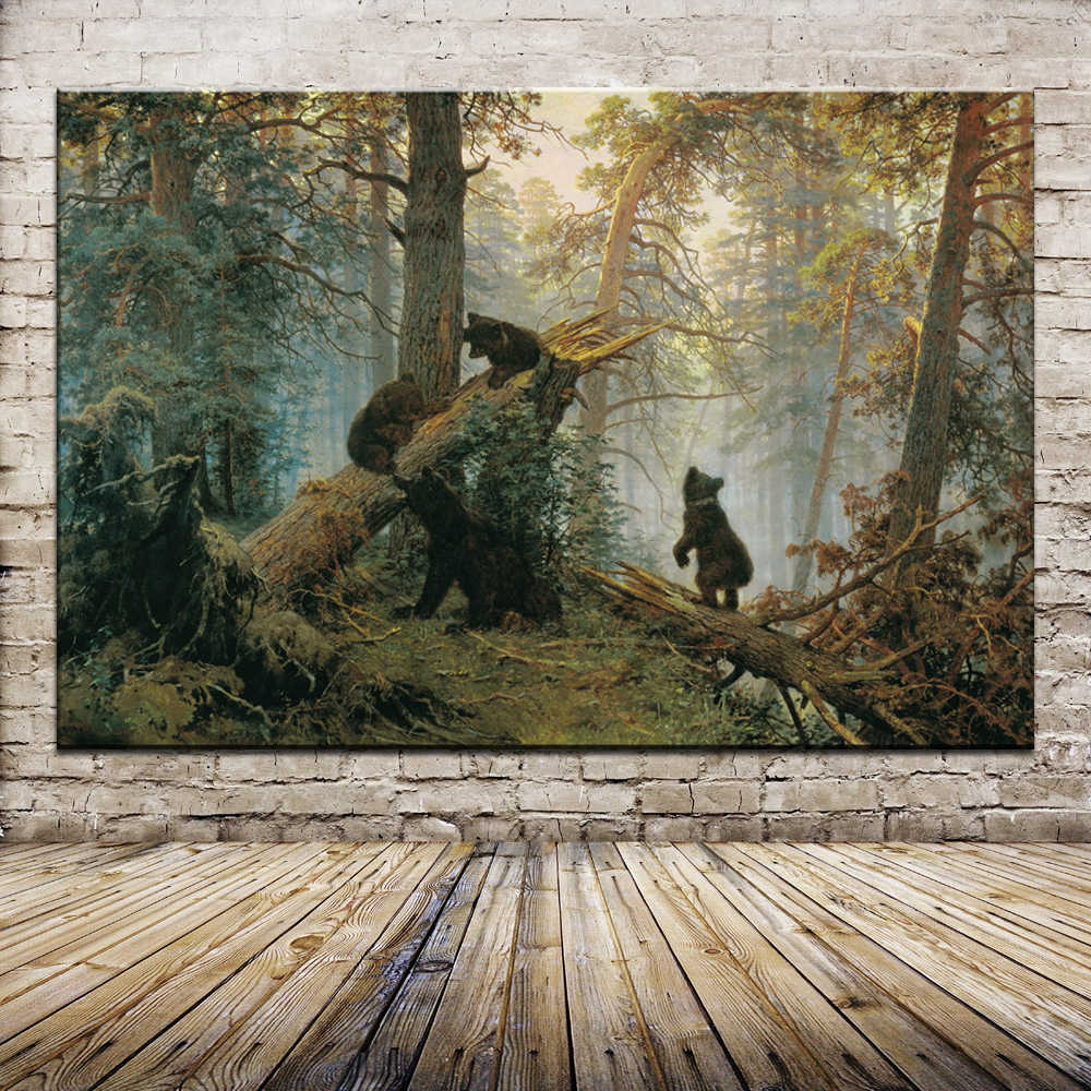 Free Shipping Morning In A Pine Forest Bear by Ivan Ivanovich Shishkin Oil Painting Spray painting On Cotton Wall Art Home Decor