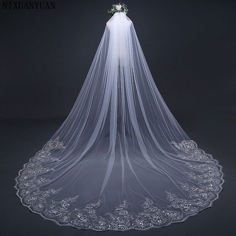 NIXUANYUAN 3 Meter Cathedral Wedding Veils Long Lace Edge Bridal Veil With Metal Comb Wedding Accessories 2020