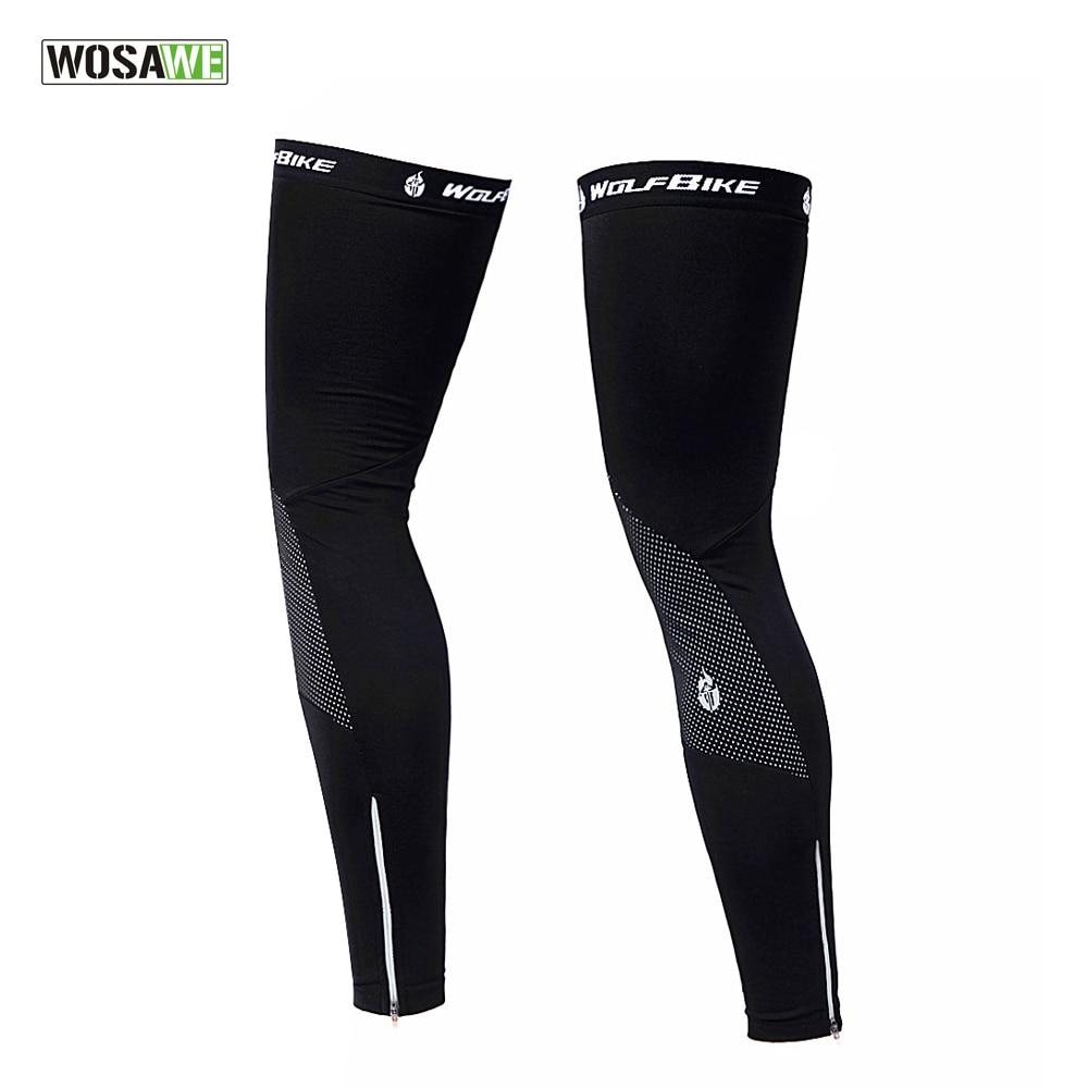 CHEJI Fleece Thermal Cycling Leg Warmers Black Cycle Bike Leg Warmers Reflective