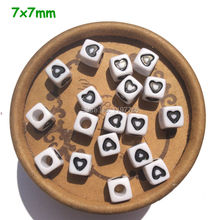 Free shipping Alphabet Letter Beads, Wholesale 100pcs 7*7mm Acrylic Cube Heart Spacer Beads
