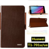 Top Quality Natural Genuine Leather Invisible Magnet Stand Flip Cover Case For Huawei MediaPad T1 T1