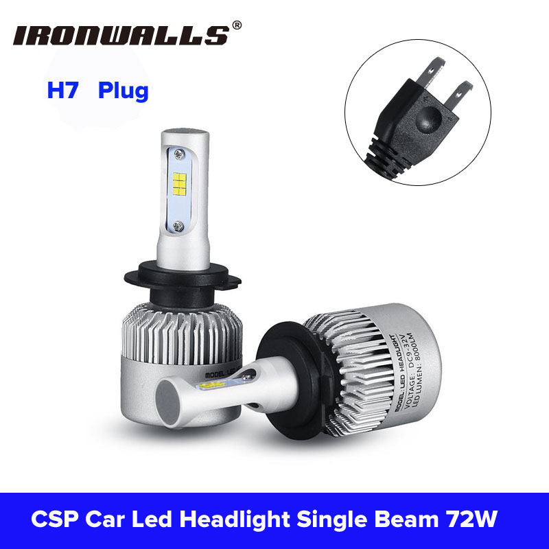 Ironwalls Led H7 Car Headlight Bulbs 72W 8000Lm 6500K Cree CSP Chips Auto Front Light Headlamp Kit DC 12/24V For Jeep/Ford/Mazda ironwalls h11 led car headlight bulbs cree csp chips 72w 8000lm 6500k auto front fog light headlamp 12v 24v for ford toyota