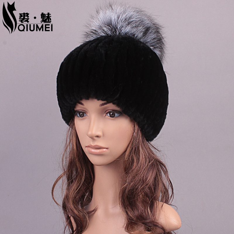 ФОТО Winter Hat For Women Real Fur Cute Design Hat Girl Beanies Women Casual Caps Knitted Rex Rabbit Fur Fashion Russian Hat New 2016