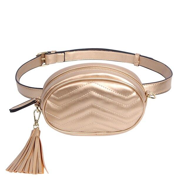 Elegant Waist Packs Women Solid Designer Tassel Belt Bag Ladies Pu Leather Fanny Pack Female Chest Bag Organizer Wallets Phones