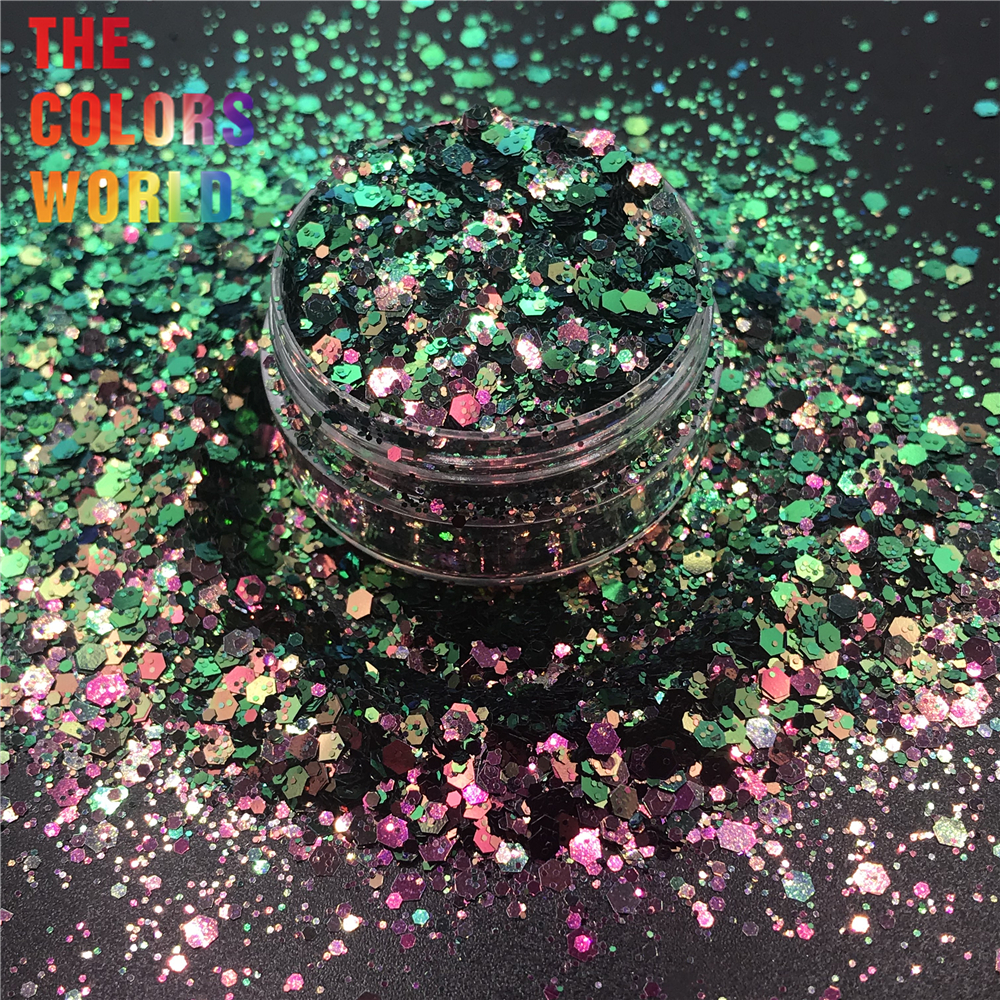 TCT-320 Chameleon Color Chunky Mix Hexagon Nail Glitter Nails Art Decoration Face Paint Tumblers DIY Crafts Festival AccessoriesTCT-320 Chameleon Color Chunky Mix Hexagon Nail Glitter Nails Art Decoration Face Paint Tumblers DIY Crafts Festival Accessories