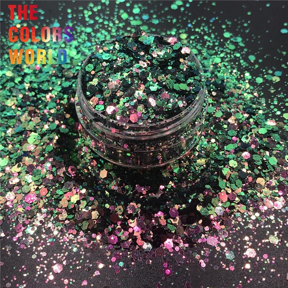 TCT-320 camaleão cor mudança chunky mix hexágono prego glitter unhas decoração da arte tumblers diy artesanato acessórios do festival