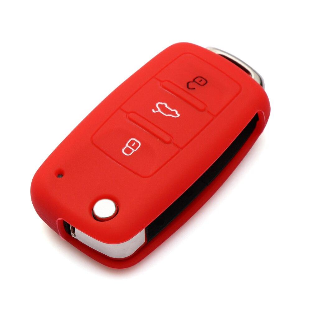 Силиконовый чехол для ключей автомобиля для Volkswagen polo passat golf 5 6 jetta tiguan Gol CrossFox Plus Eos Scirocco Beetle, автомобильный Стайлинг - Название цвета: Красный