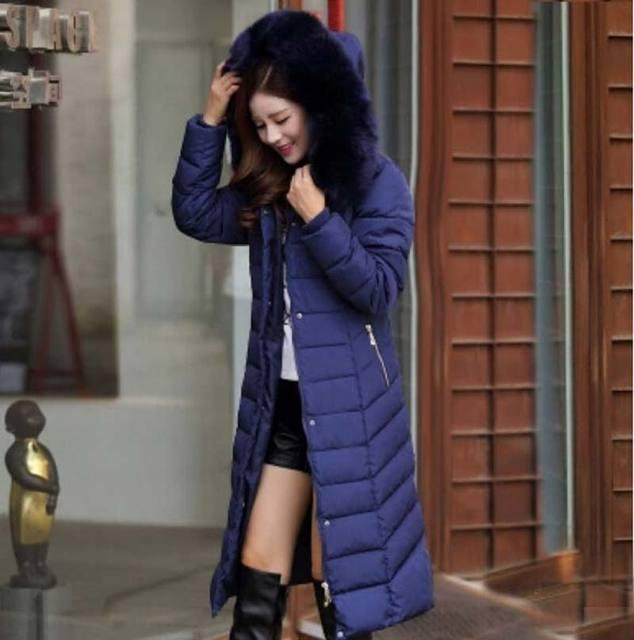 Abrigo de invierno más el tamaño 5XL mujeres de la chaqueta de invierno cuello de piel engrosamiento de algodón abajo capas del algodón con capucha Parkas BL1207