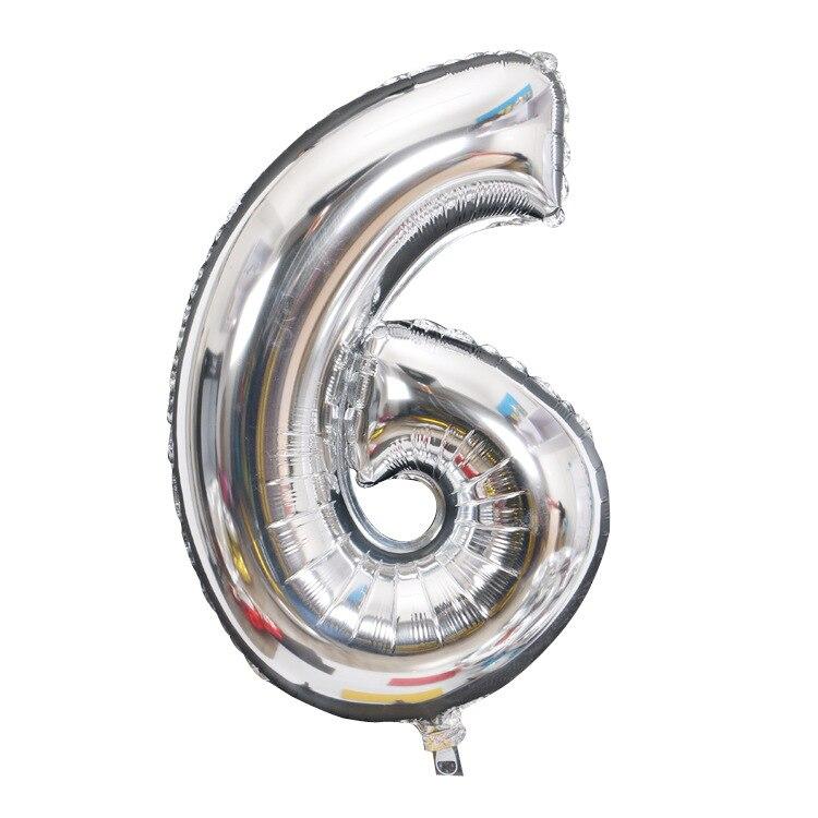 32 дюйма 0-9 Большие Гелиевые цифровые воздушные баллоны фольги детские игрушки на день рождения серебристые золотые розовые вечерние Детские Мультяшные шляпы - Цвет: silver 6