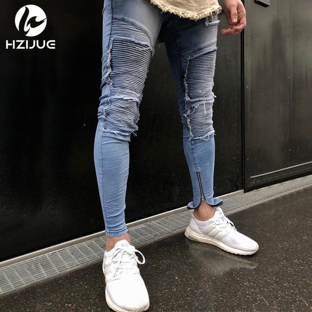 HZIJUE 2018 Hi-Street Men Knee Eversion Ripped Big Hole Men Jeans Streetwear Skateboard Straight Pants Man Casual Elastic Jeans 4