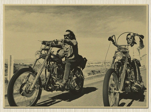 Great USA Route 66 Rider Motorcycle Kraft Paper Poster Retro Wall Art Crafts  Living Room Painting Decor