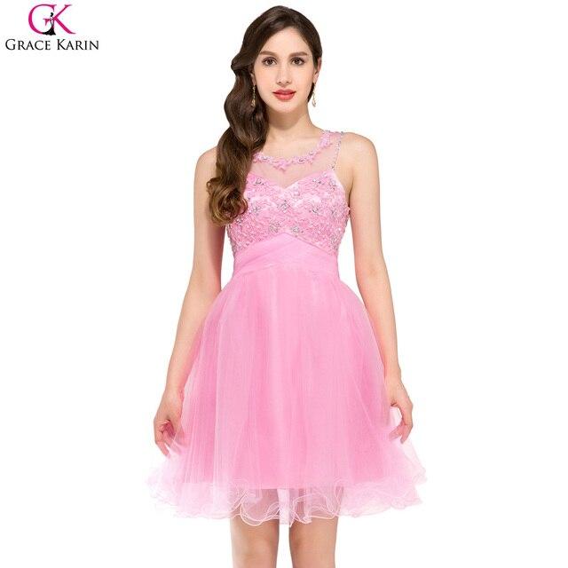 Grace Karin Pink Purple Blue Green Lace Cheap Bridesmaid Dresses