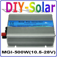 MGI 500W DC10.5~28V Grid Tie Inverter for Solar Panel 18V/36 Cells, 90 140V or 180 260VAC Pure Sine Wave Power Inverter 500W 18V