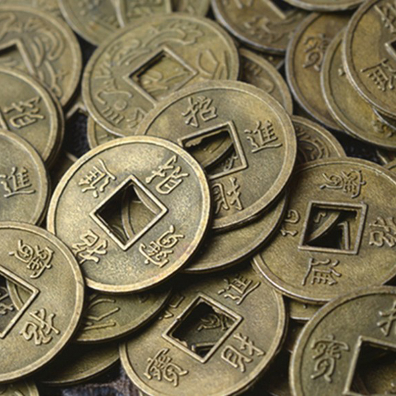 100 PCS 24mm Goldenen Chinesischen Alte Feng Shui Glück Münze Glück Zwei Drachen Antike Reichtum Geld Für Sammlung geschenk
