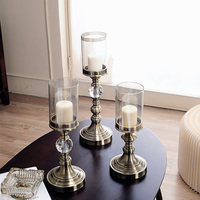 European american Simple Glass Candlestick Western Dinner Table Wedding Wedding Romantic Retro Dinner Table Arrangement Home Dec