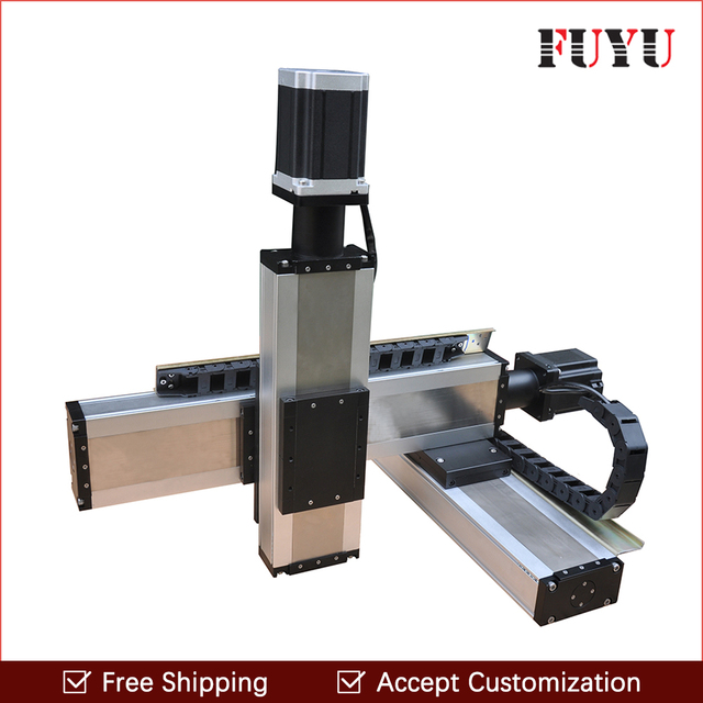 Free shipping 100x100x100mm nema34 stepper motor drive three axis Linear Motion Systems xyz stage motorized for printer